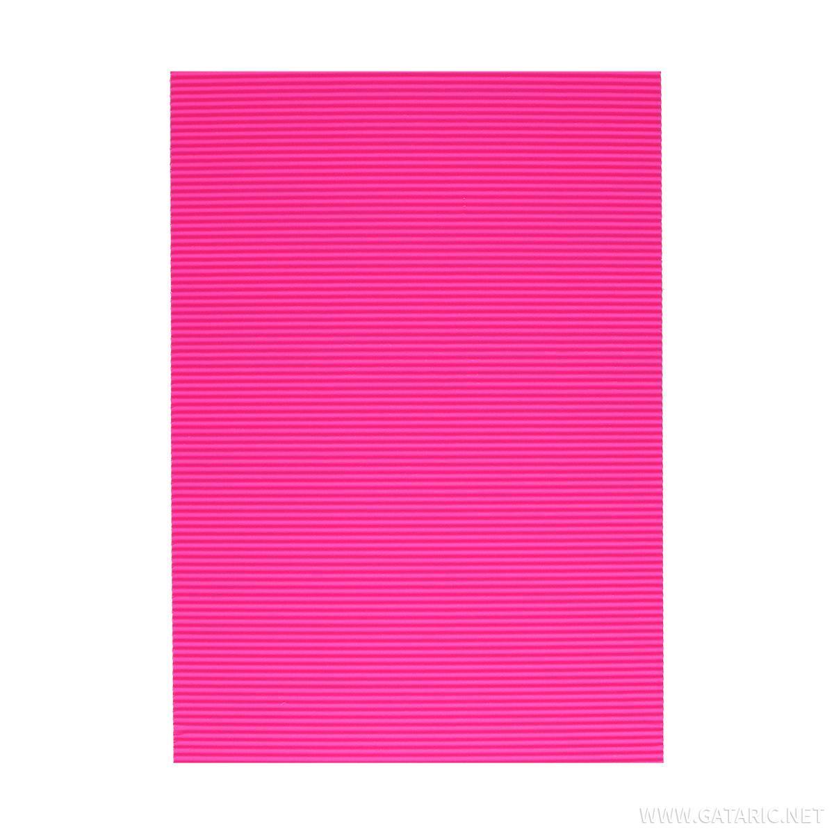 Karton rebrasti, fluo-roza