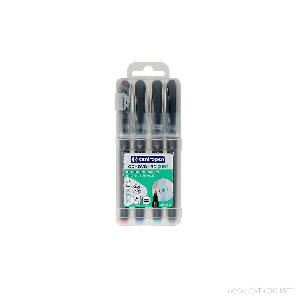 CD/DVD Marker olovka, permanentni, 1.0mm, 4/1 blister