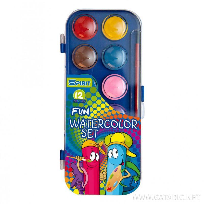 Deckfarbkasten in stabiler Kunststoffbox, 12 Farben