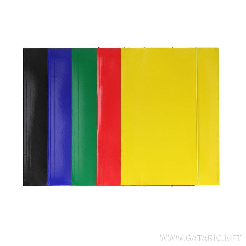 Fascikla kartonska 600g, 1 guma i 3 klapne