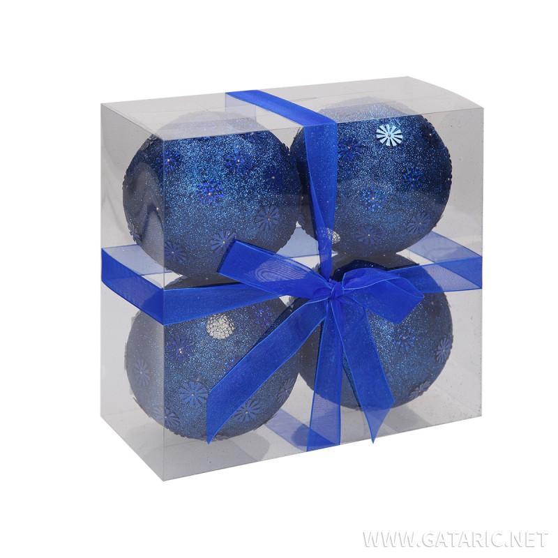 New Year ball 10cm, 4/1 set