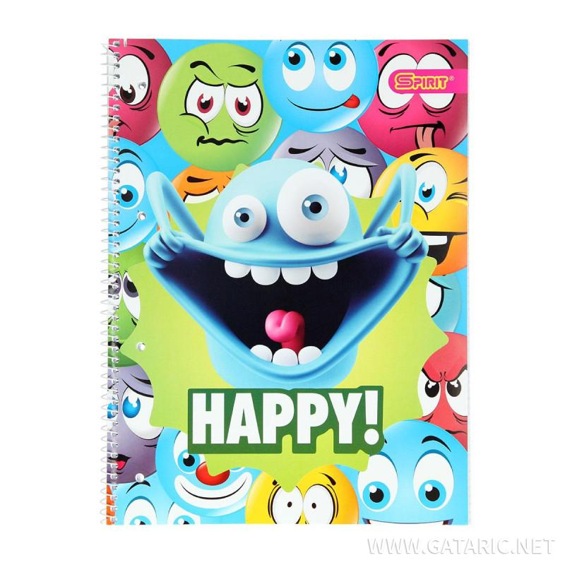Kolegij blok sa spiralom ''Happy'', A4 karo