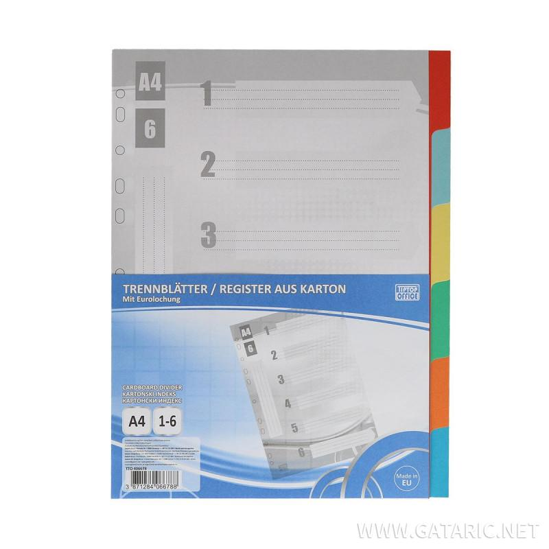 Index Kartonski A4, 1-6