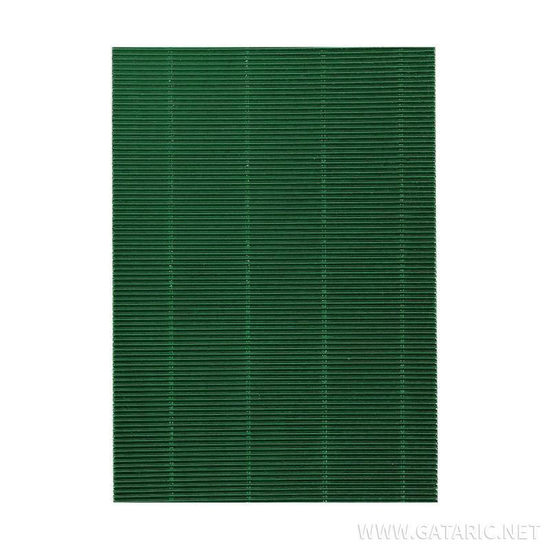 Bastelwellpappe Metalic 1/1, Metallisches Grün