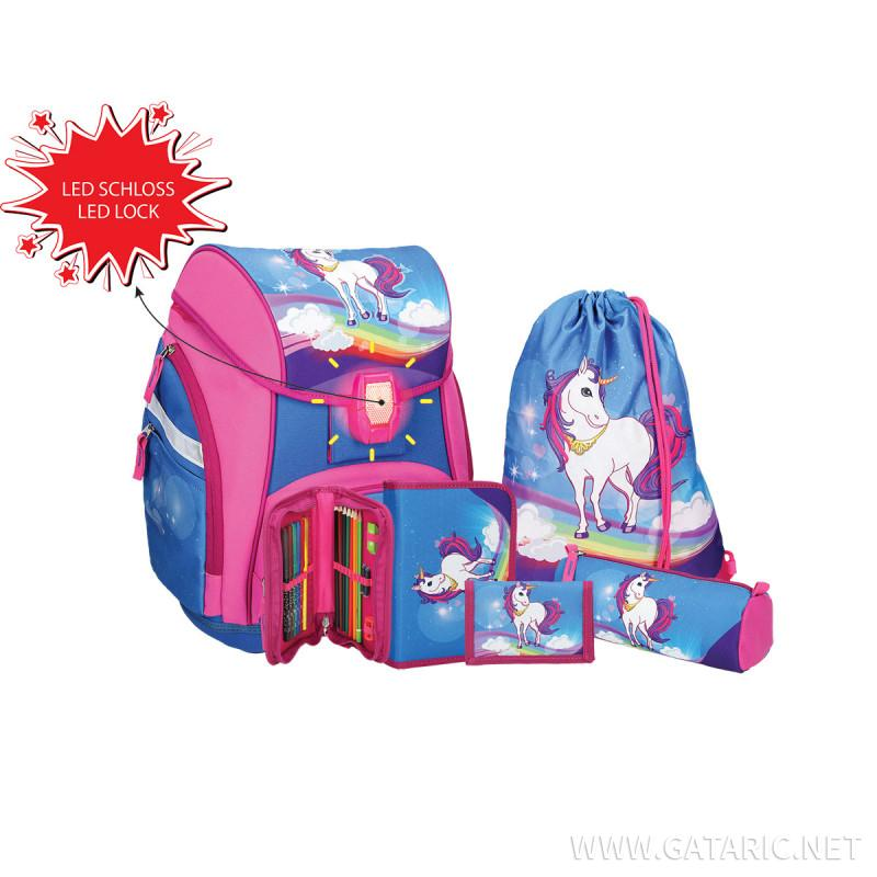 School bag set ''UNICORN'' Prolight 5-Pcs (LED buckle)