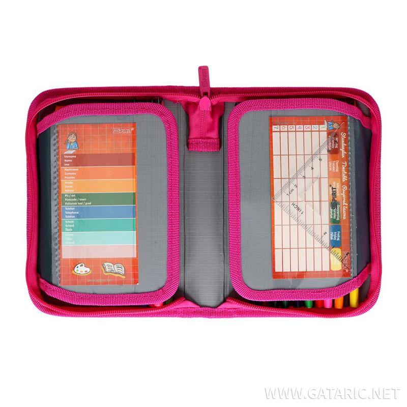 Pencil case 3D ''RED HEART'', 1-Zipper, 28-pcs