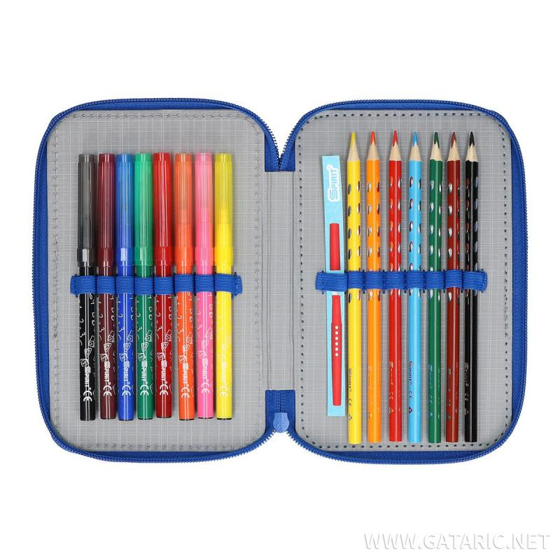 Pencil case 3D ''FOOTBALL GOAL'', 3-Zipper, 28-pcs