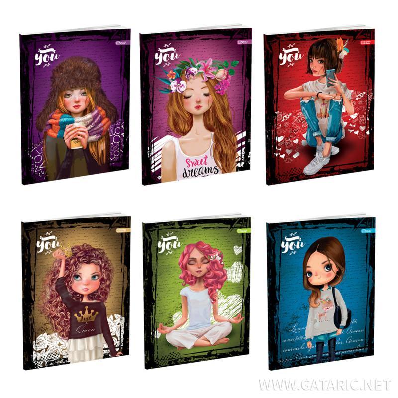 Schulheft A5, Softcover-Umschlag, Girls, 52 Blatt