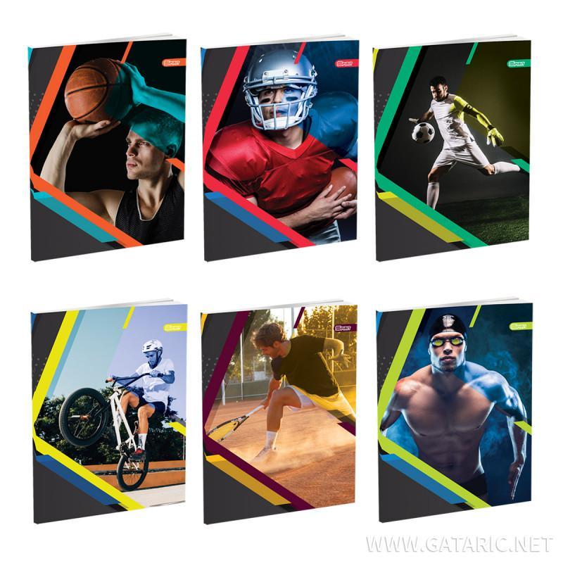 Schulheft A4, Softcover-Umschlag, Sport,  Kariert, 52 Blatt