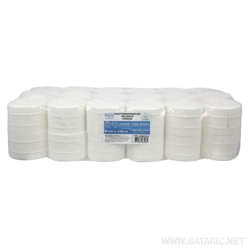 Toilettenpapierrollen hülsenlos 100m