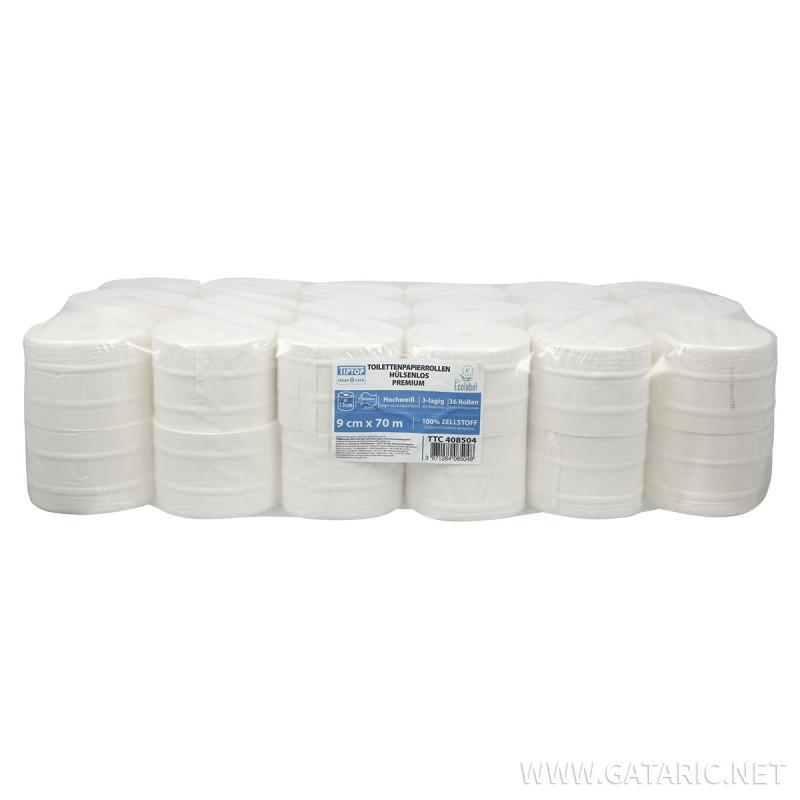 Toilettenpapierrollen hülsenlos 70m