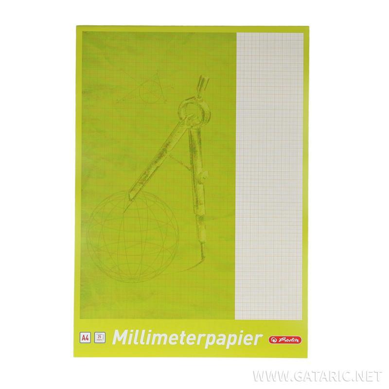 Blok milimetarski A4, papir 80g, 25 listova